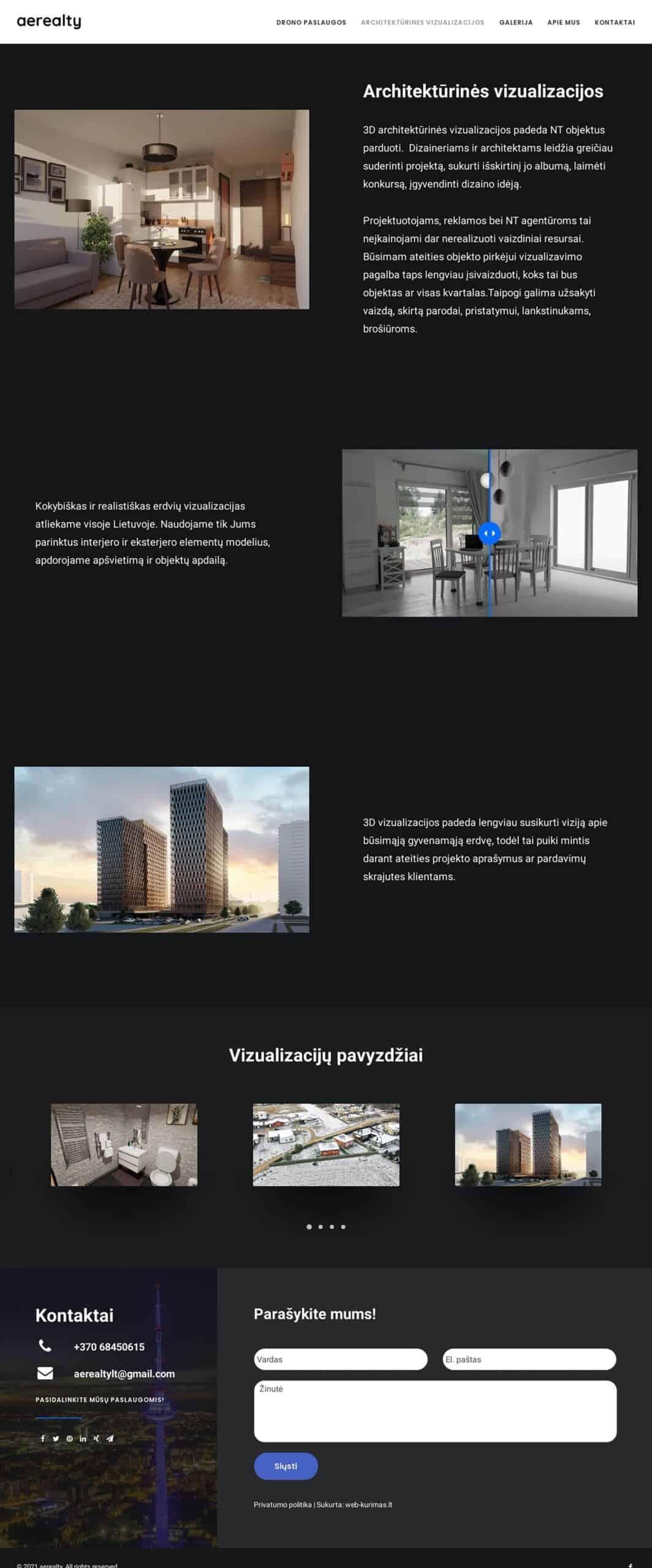 Aerealty tinklalapio achitektūrinės vizualizacijos kūrimas